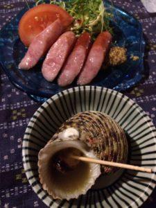 阿古豬香腸、烤海螺