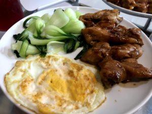 炒雞肉、青菜、蛋