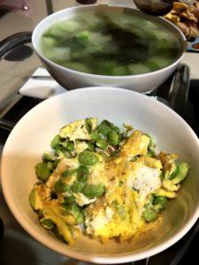 毛豆炒蛋、蔬菜